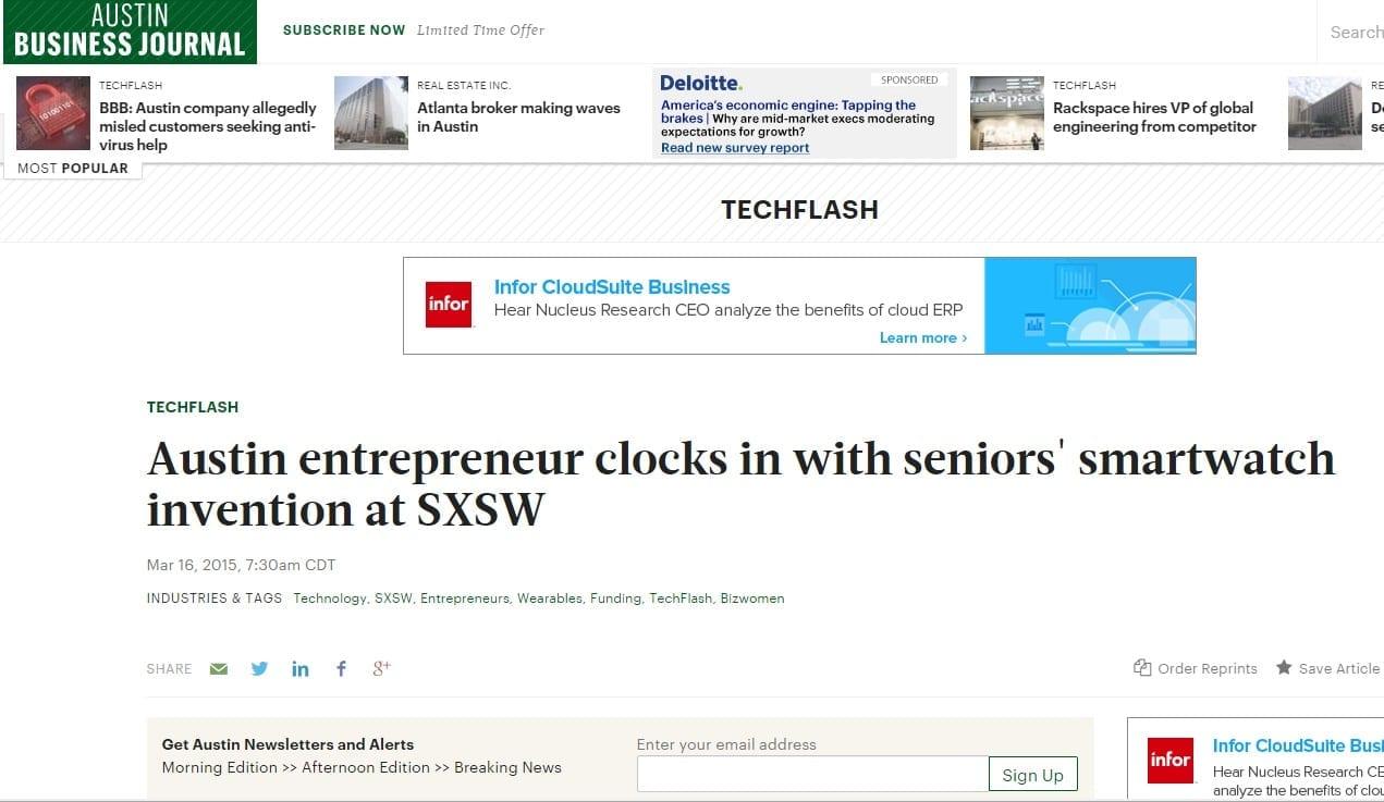 Seniors' smartwatch Clocks in at SXSW