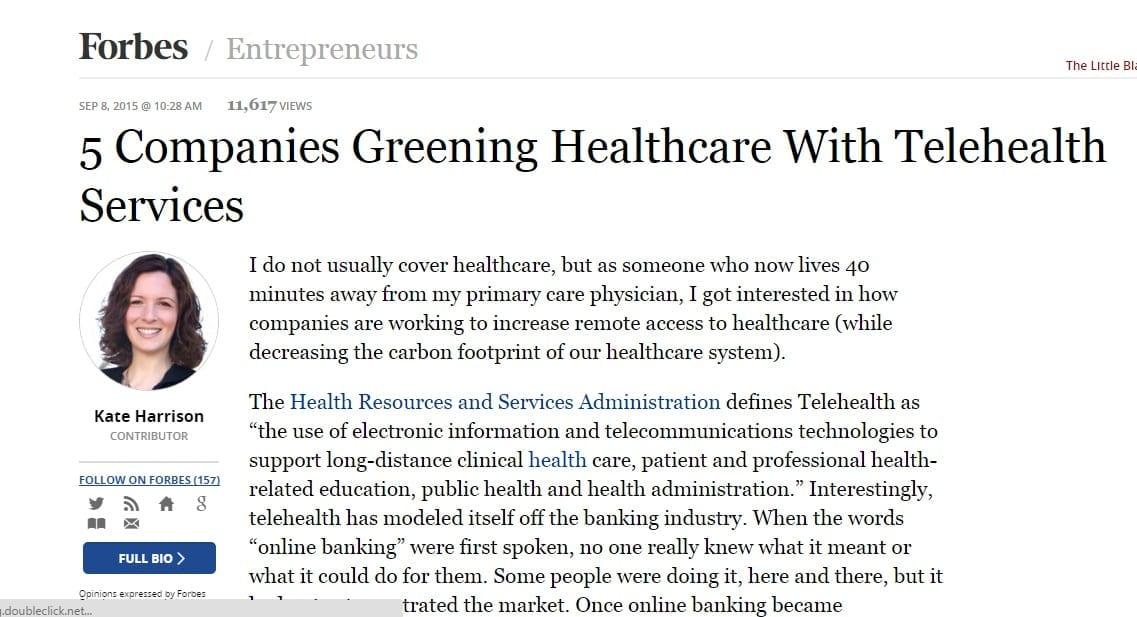 Greening Healthcare with TeleHealth
