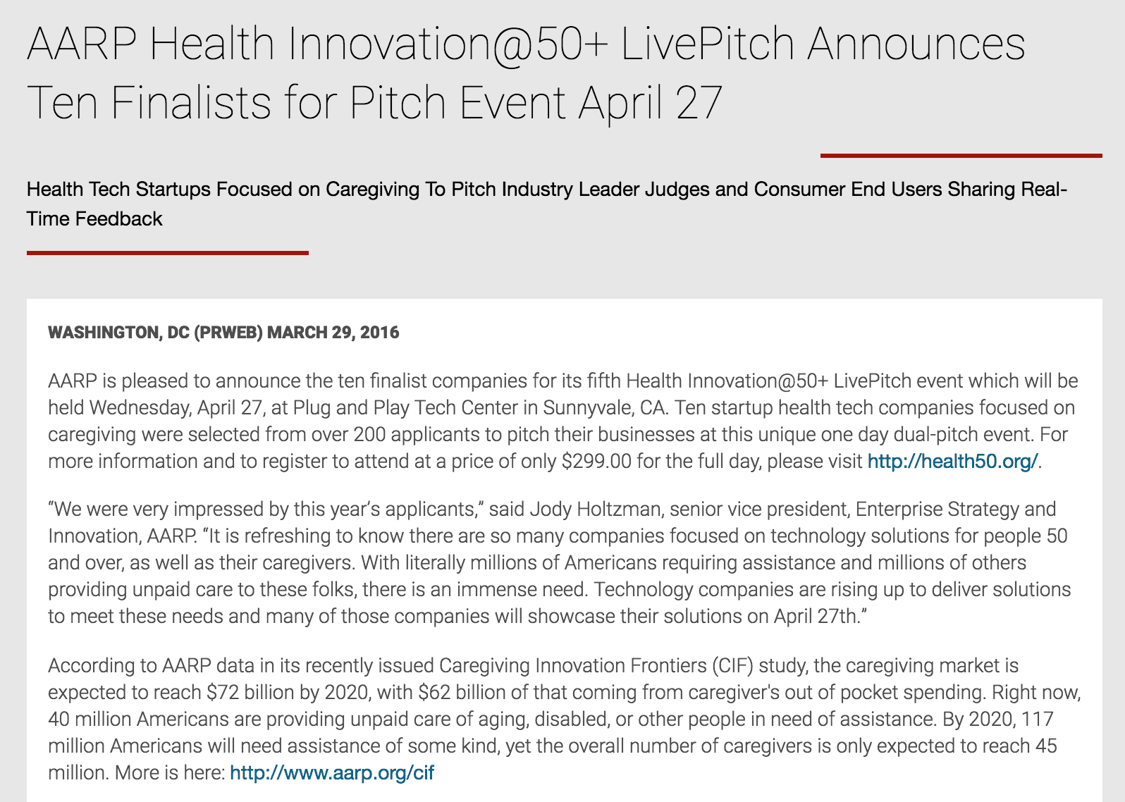 AARP Health Innovation@50+ LivePitch Announces Ten Finalists for Pitch Event April 27