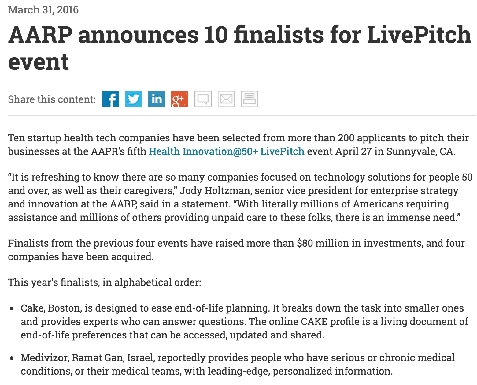AARP announces 10 finalists for LivePitch event