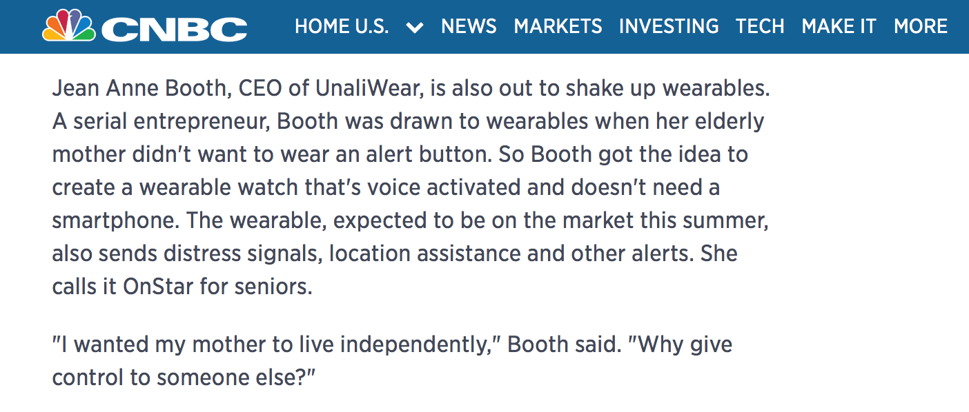 CNBC Mention of Jean Anne and UnaliWear in 94-year-old fashion icon's smart bracelet to compete with Fitbit