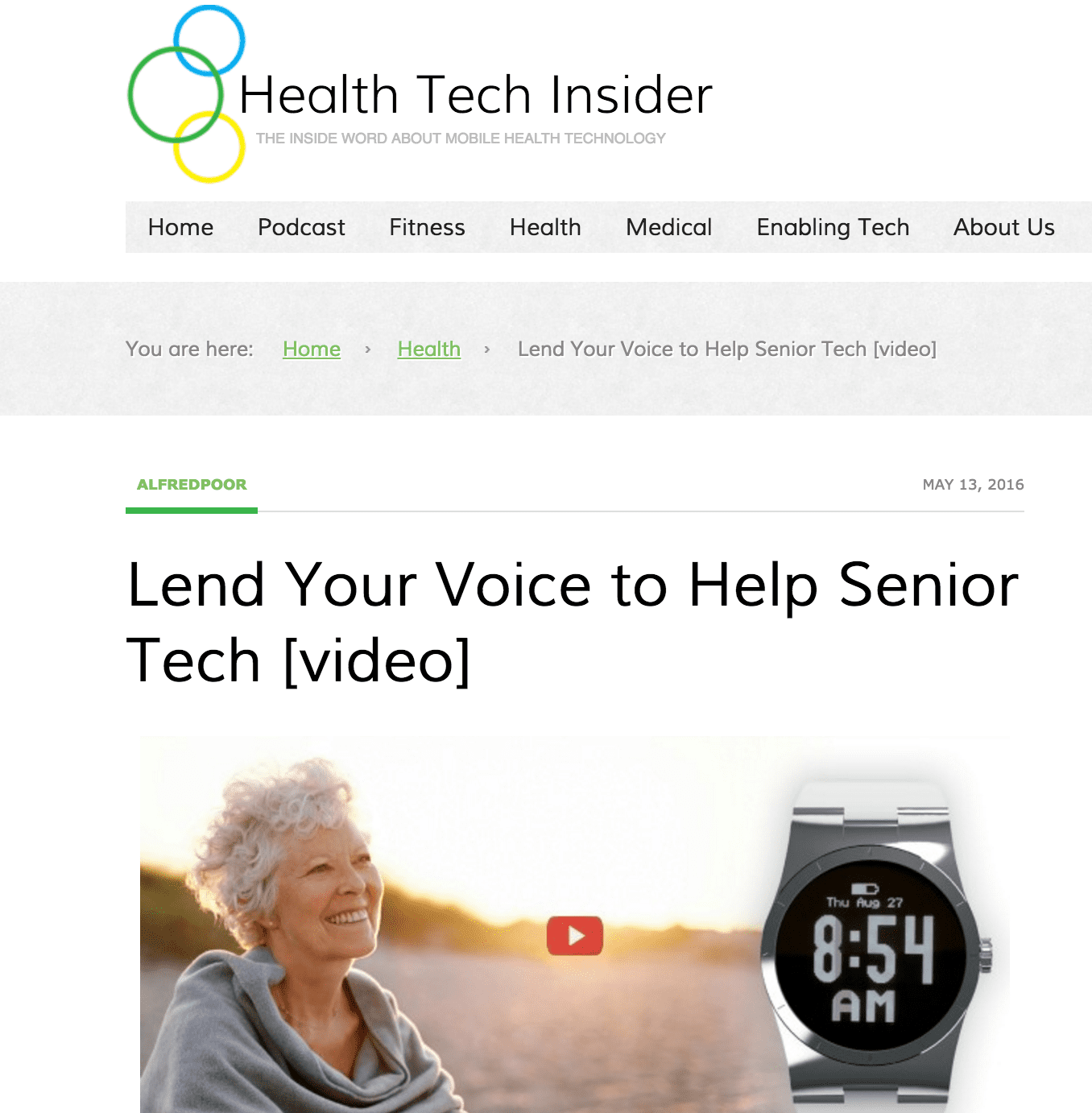 Health Tech Insider: Lend Your Voice to Help Senior Tech