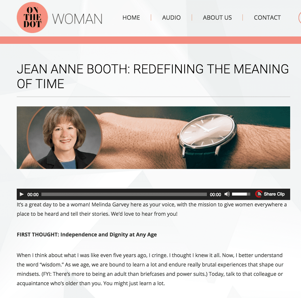 Jean Anne Booth: Redefining the Meaning of Time – Featured from On the Dot Woman