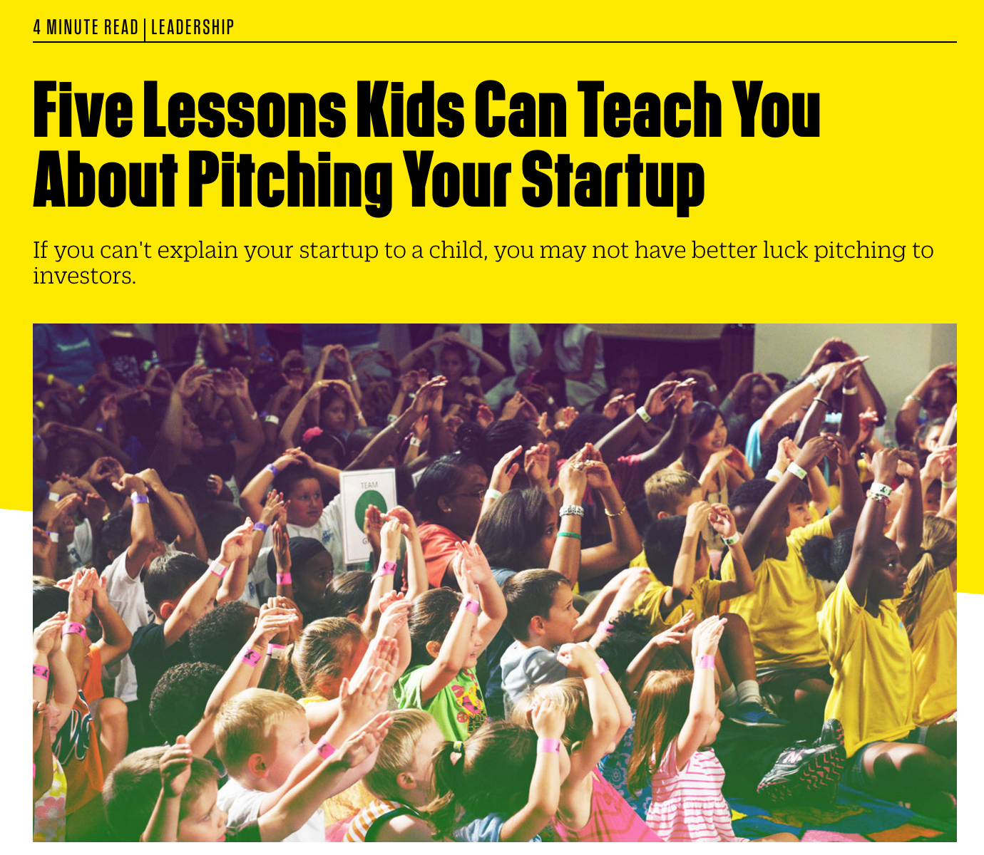 Five Lessons Kids Can Teach You About Pitching Your Startup