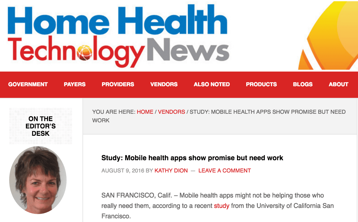 Jean Anne Booth Mentioned in Home Health Technology Today Study: Mobile health apps show promise but need work