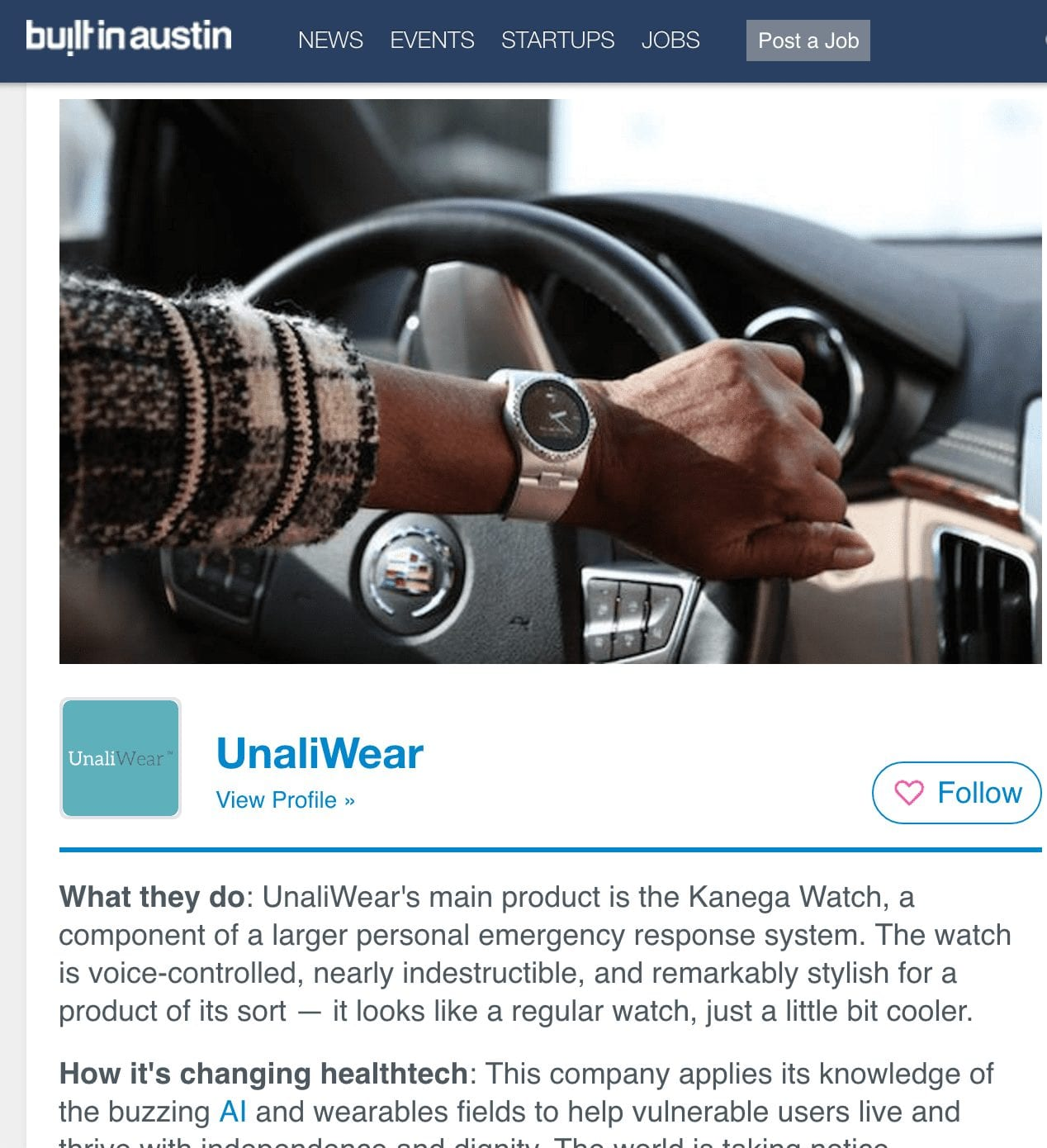 UnaliWear Featured 21 Austin healthtech startups you should know