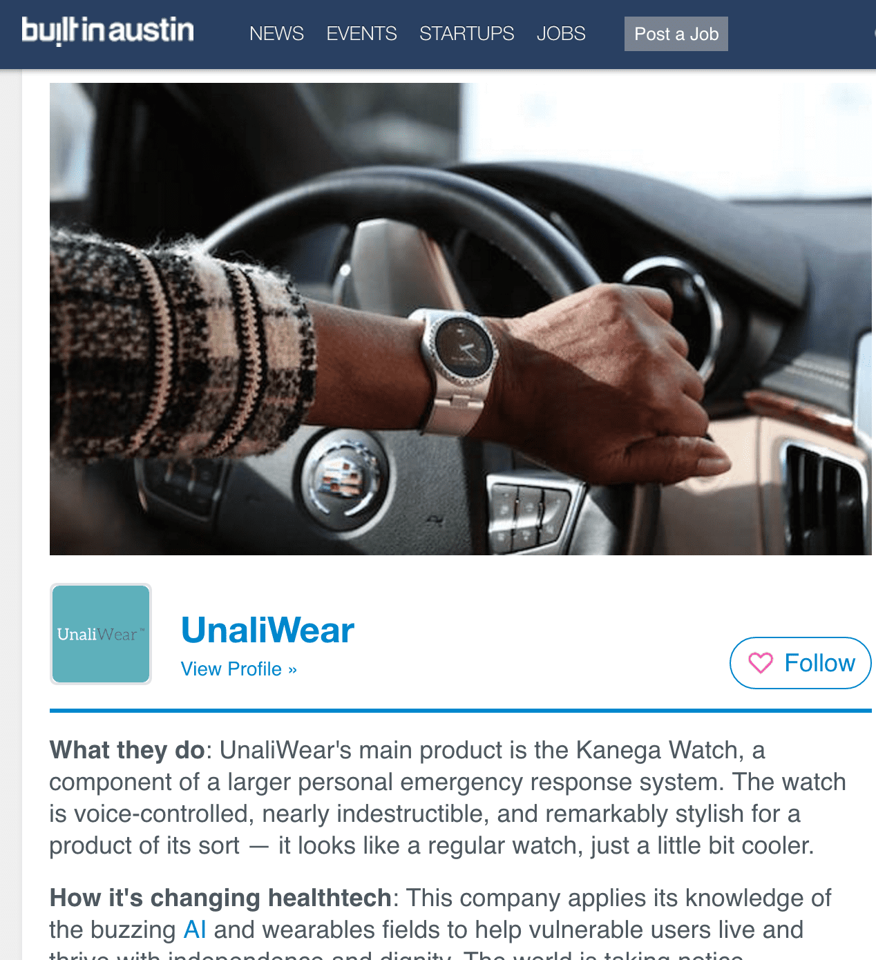 UnaliWear Featured in Built in Austin: 21 Austin healthtech startups you should know
