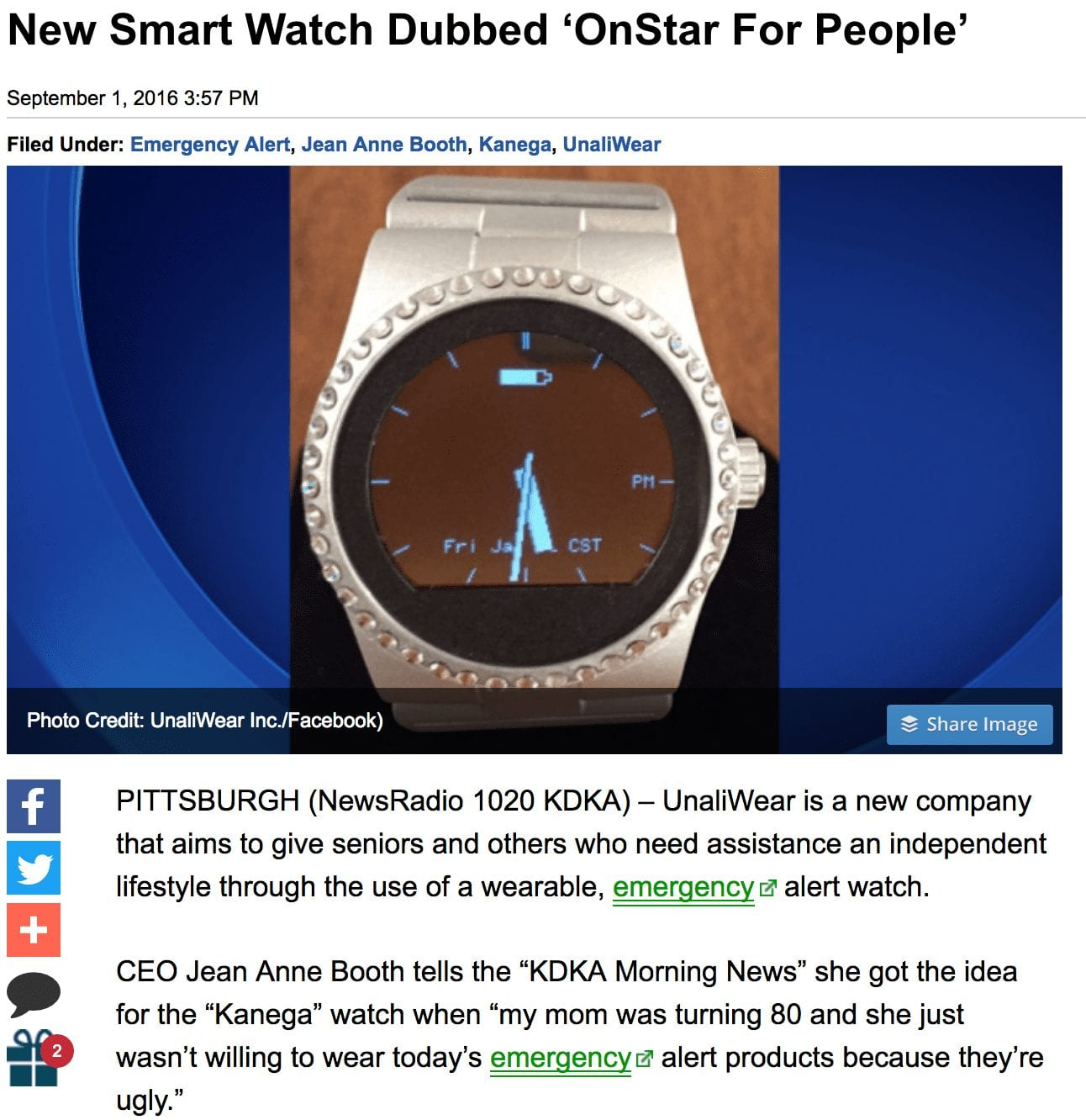 New Smart Watch Dubbed 'OnStar For People'