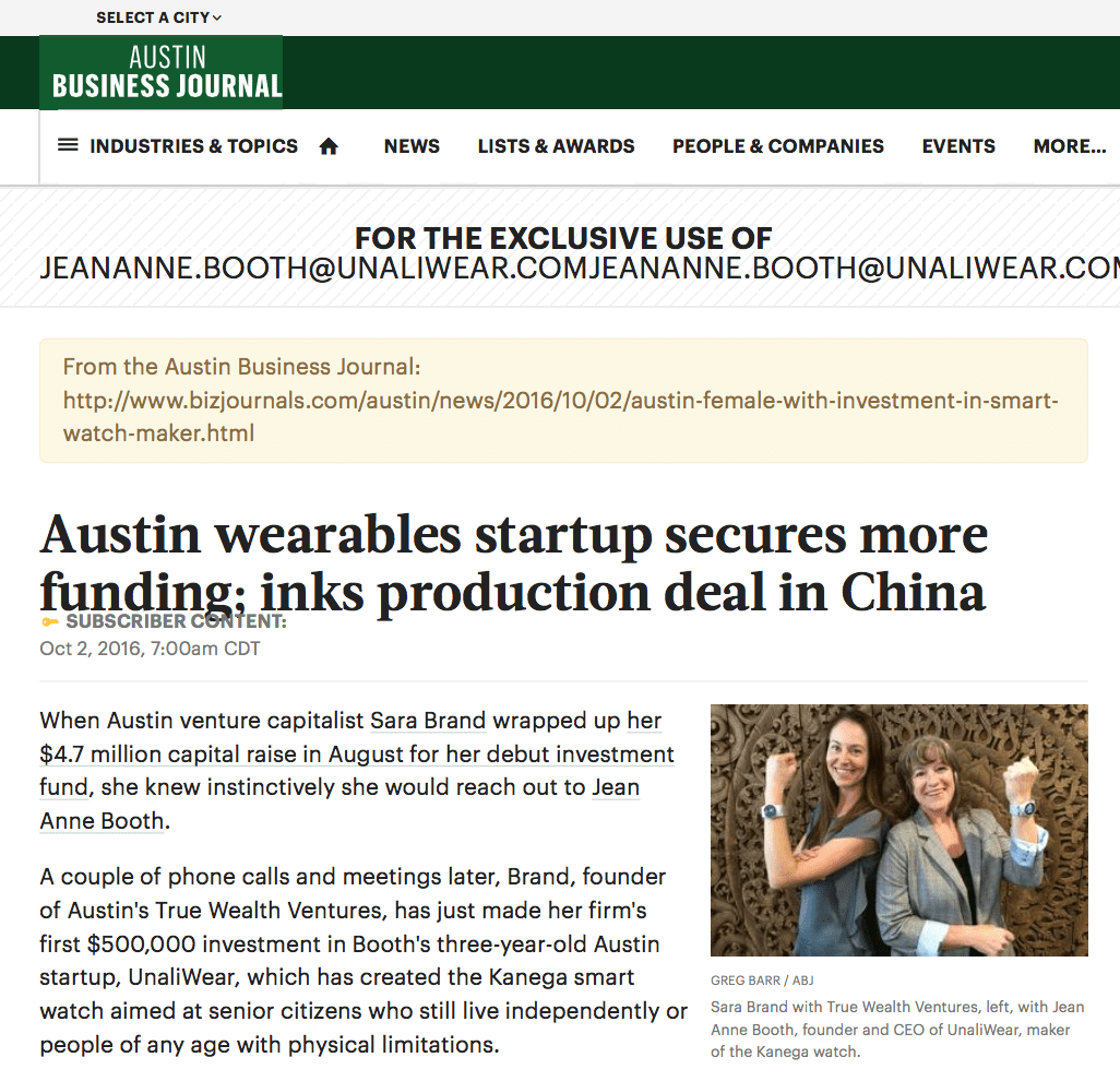 Thank you Austin Business Journal for mentioning UnaliWear in Austin wearables startup secures more funding; inks production deal in China