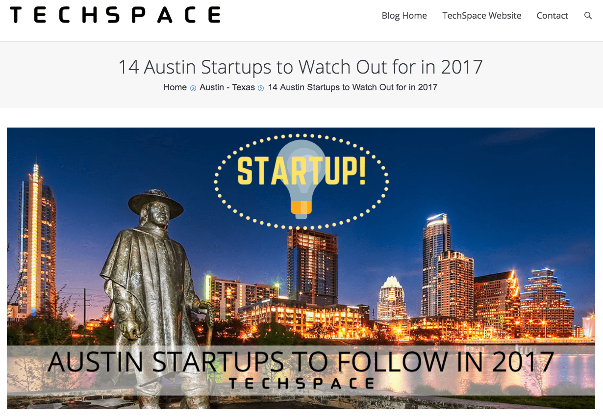 UnaliWear Featured in TechSpace Blog: 14 Austin Startups to Watch Out for in 2017