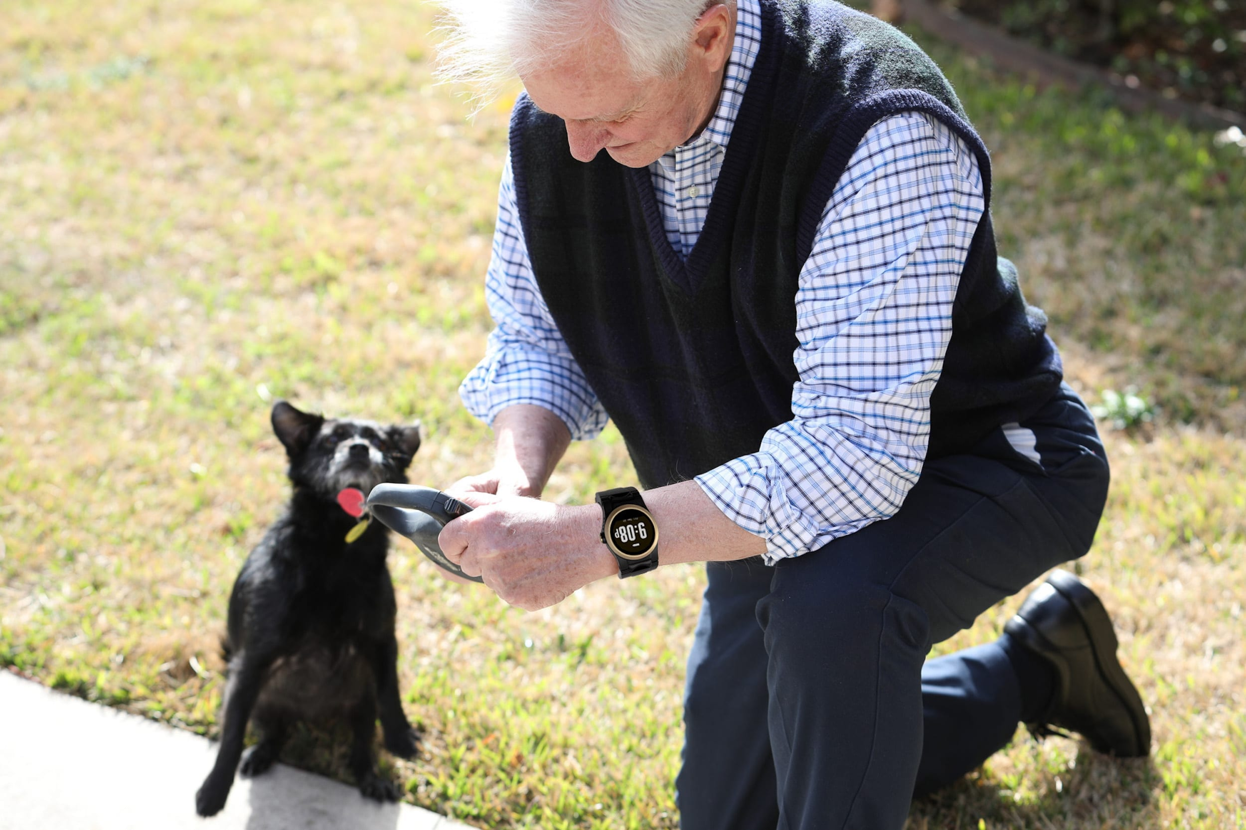 Man with dog wearing the kanega watch