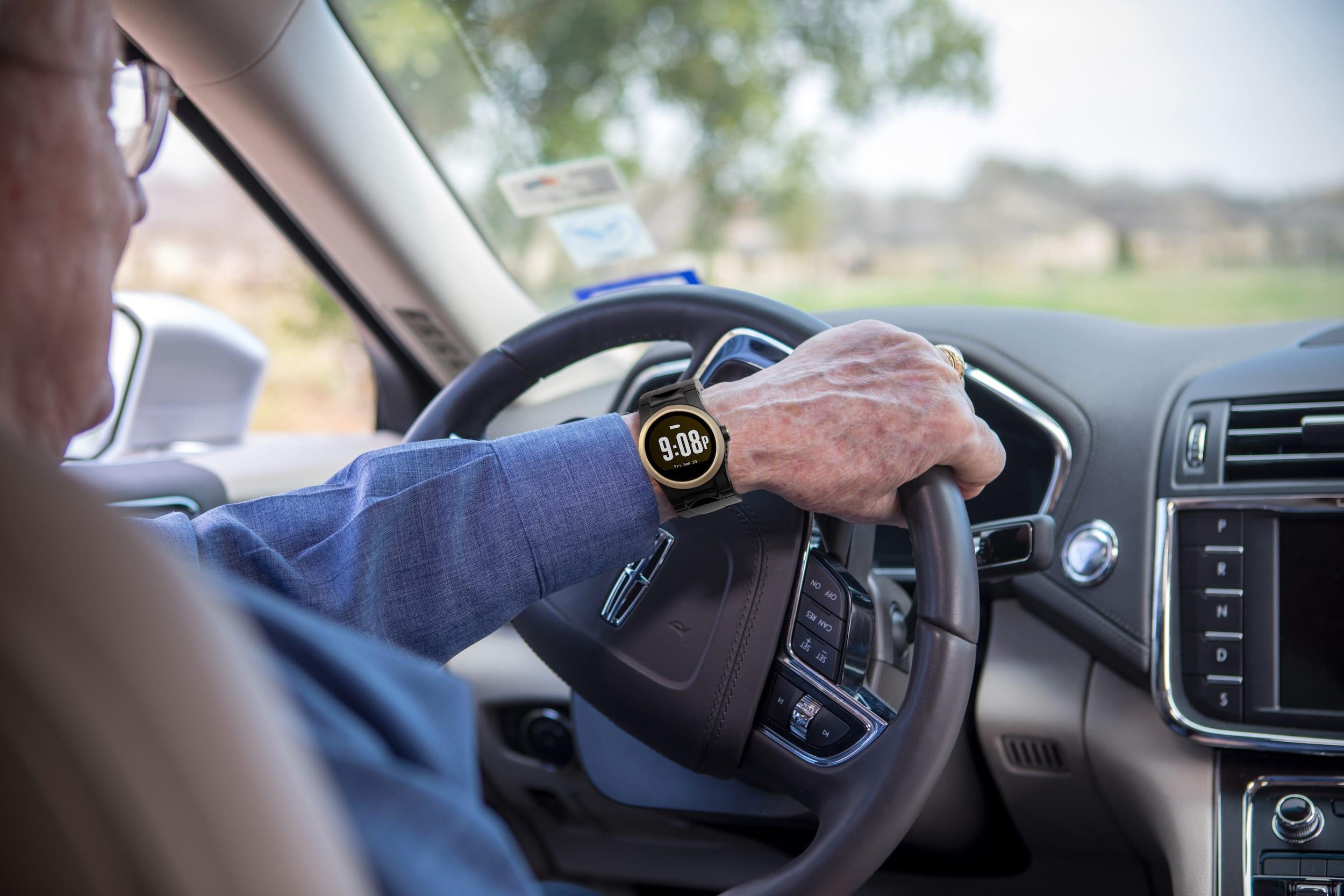 Man driving wearing the Kanega Watch