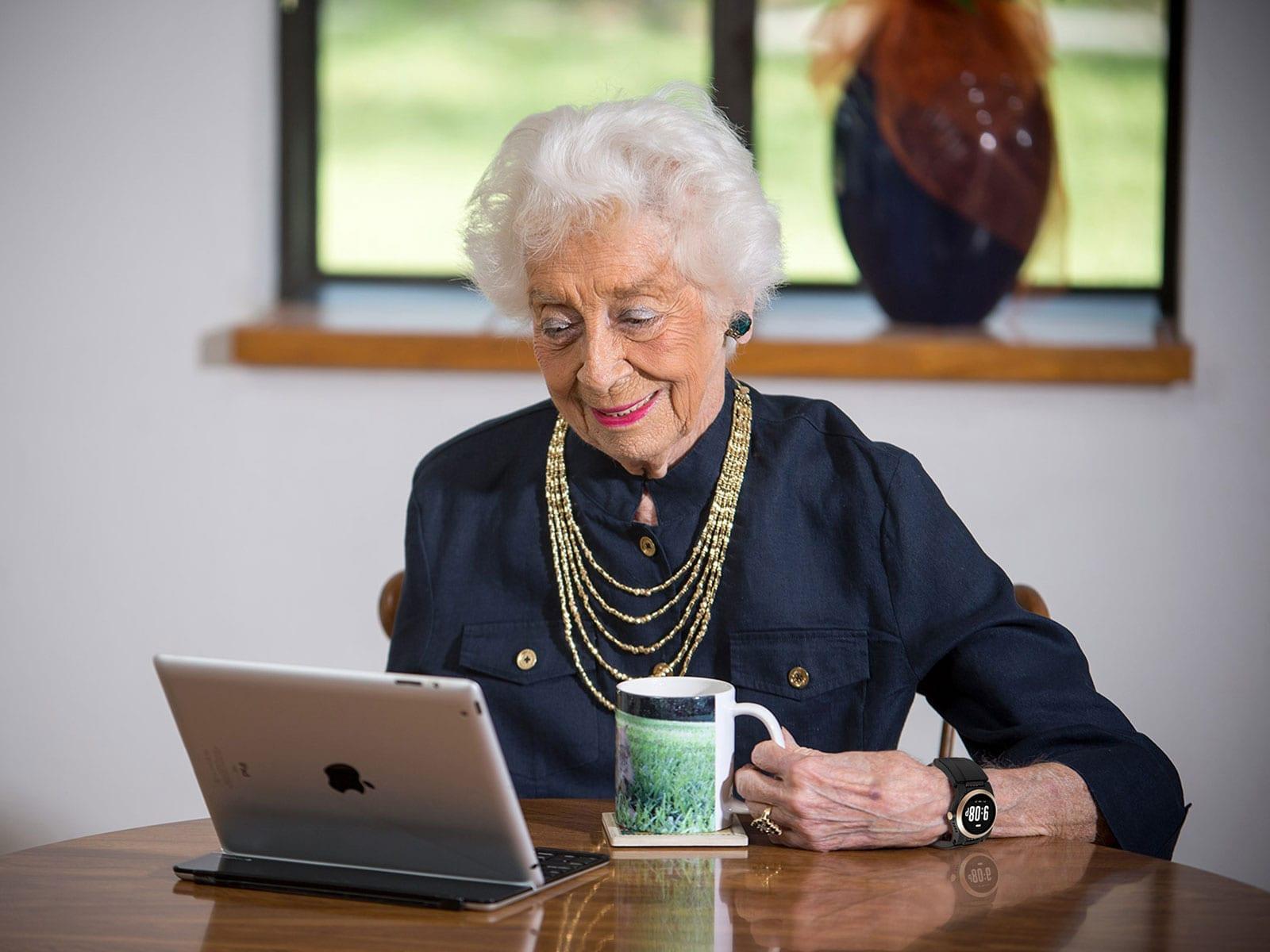 woman wearing a UnaliWear watch