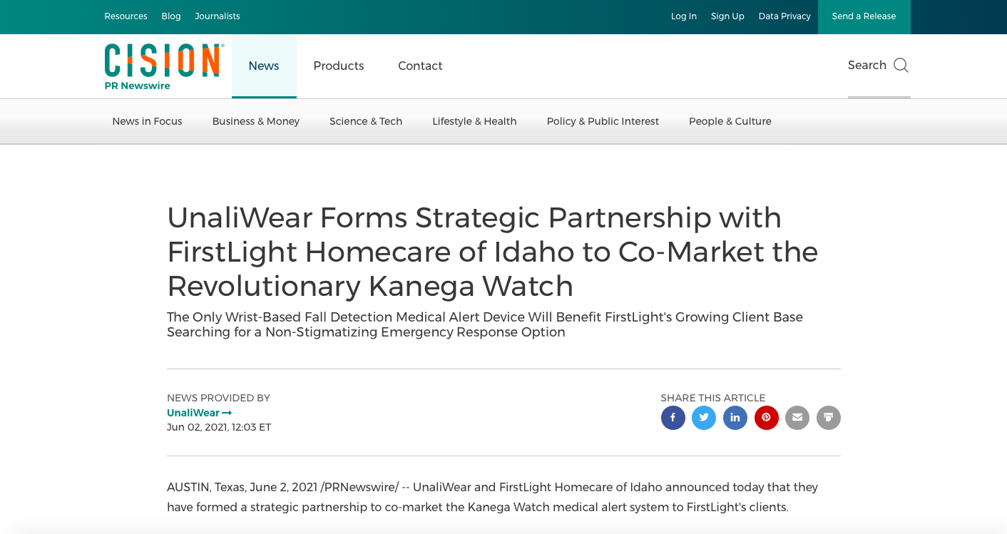 UnaliWear Forms Strategic Partnership with FirstLight Homecare of Idaho to Co-Market the Revolutionary Kanega Watch